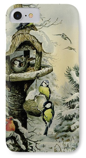 Winter Bird Table With Blue Tits Phone Case by Carl Donner