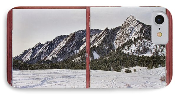 Winter Flatirons Boulder Colorado Red Barn Picture Window Frame  Phone Case by James BO  Insogna
