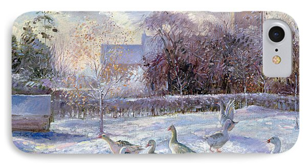 Winter Geese In Church Meadow IPhone Case by Timothy Easton