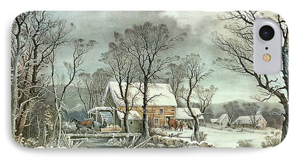 Winter In The Country - The Old Grist Mill IPhone Case by Currier and Ives