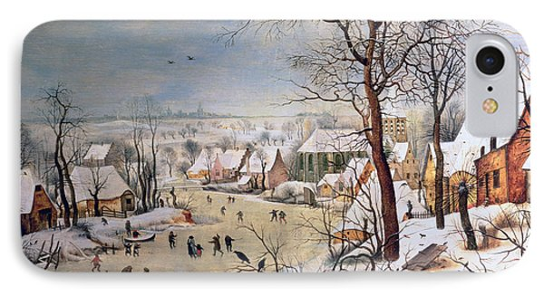 Winter Landscape With Birdtrap IPhone Case by Pieter the elder Bruegel