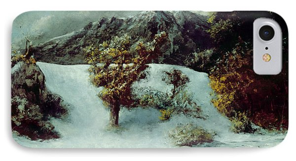 Winter Landscape With The Dents Du Midi IPhone Case by Gustave Courbet