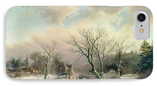 Winter Scene   IPhone Case by Johannes Petrus van Velzen