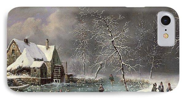Winter Scene Phone Case by Louis Claude Mallebranche
