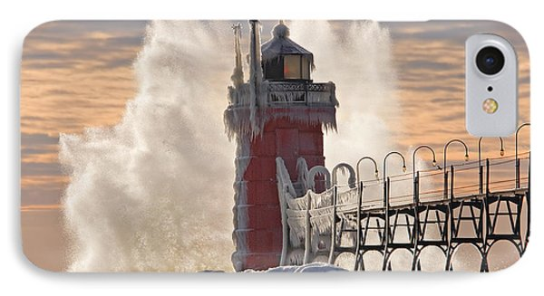 Winter South Haven Lighthouse Phone Case by Dean Pennala
