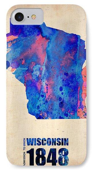 Wisconsin Watercolor Map IPhone Case by Naxart Studio