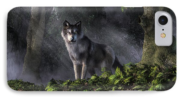 Wolf In The Forest IPhone Case by Daniel Eskridge