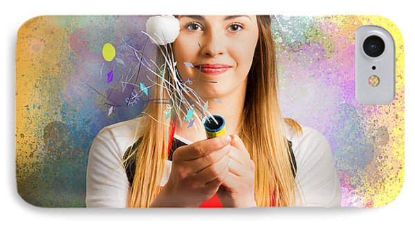 Woman Beginning The New Year With A Bang IPhone Case by Jorgo Photography - Wall Art Gallery