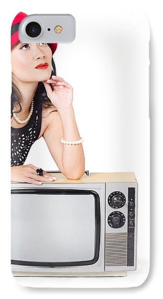Woman On Retro Tv. Fifties Copyspace Broadcast IPhone Case by Jorgo Photography - Wall Art Gallery