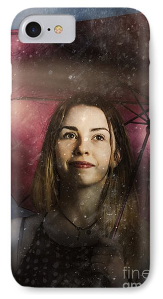 Woman Resilient In Storm Through Positive Thinking IPhone Case by Jorgo Photography - Wall Art Gallery