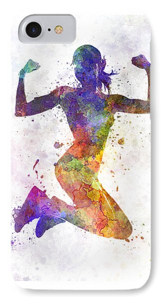 Woman Runner Jogger Jumping Powerful IPhone Case by Pablo Romero