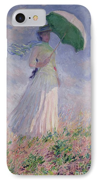 Woman With A Parasol Turned To The Right IPhone Case by Claude Monet