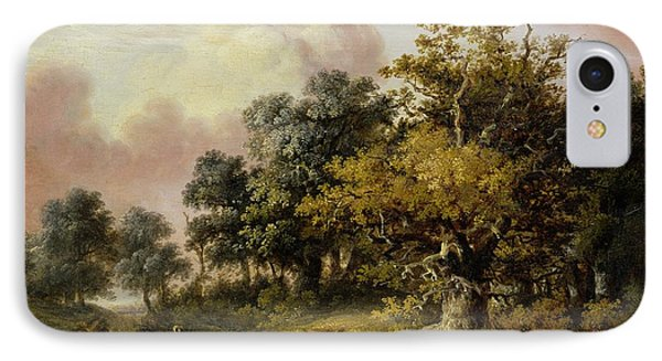Wooded Landscape With Woman And Child Walking Down A Road  IPhone Case by Robert Ladbrooke