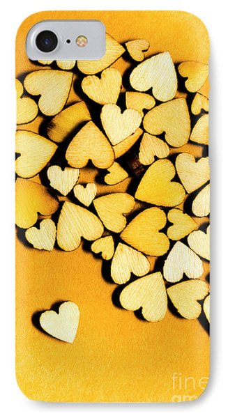 Wooden Hearts With Sentimental Single IPhone Case by Jorgo Photography - Wall Art Gallery