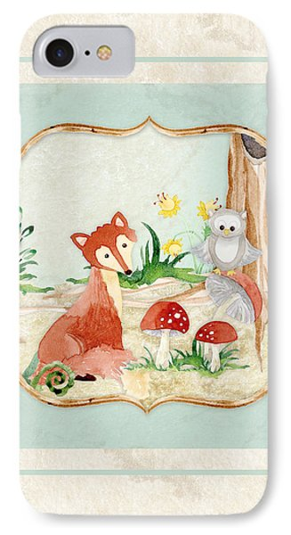 Woodland Fairy Tale - Fox Owl Mushroom Forest IPhone 7 Case by Audrey Jeanne Roberts