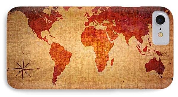 World Map Grunge Style IPhone Case by Johan Swanepoel
