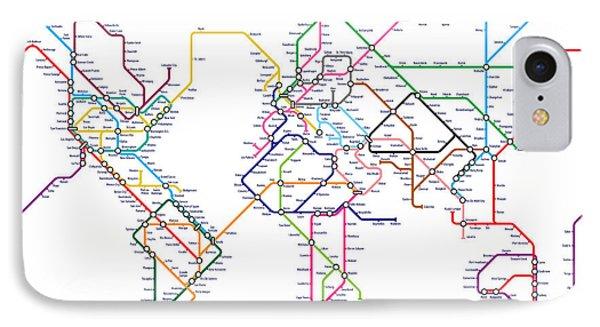 World Metro Tube Map IPhone Case by Michael Tompsett
