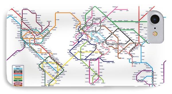 World Metro Tube Subway Map IPhone Case by Michael Tompsett