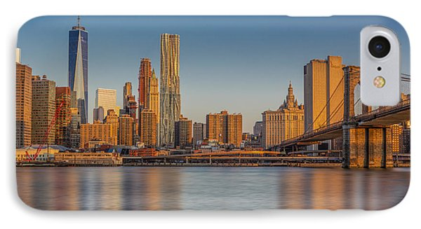 World Trade Center And The Brooklyn Bridge IPhone Case by Susan Candelario