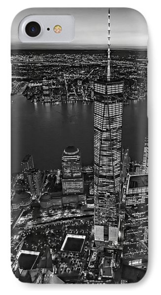World Trade Center Wtc From High Above Bw IPhone Case by Susan Candelario