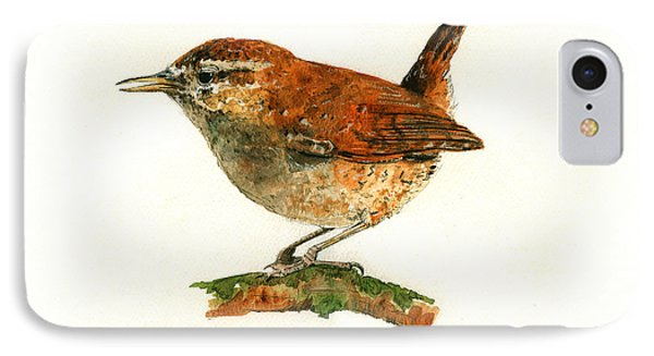 Wren Bird Art Painting IPhone 7 Case by Juan  Bosco