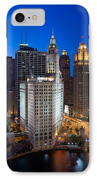 Wrigley Building Night IPhone Case by Steve Gadomski