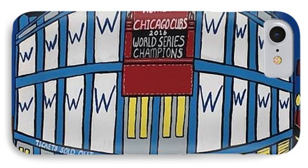 Wrigley Field Home Of Chicago Cubs World Series Champions IPhone Case by Jonathon Hansen