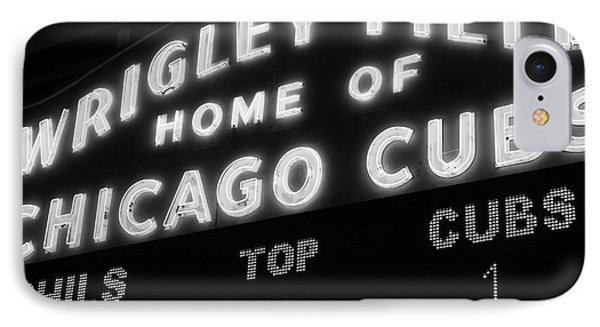 Wrigley Field Sign Black And White Picture IPhone 7 Case by Paul Velgos