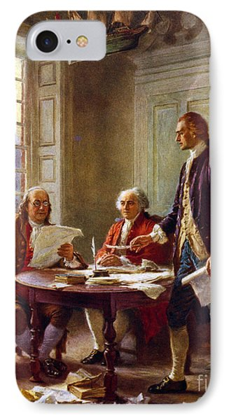 Writing The Declaration Of Independence, 1776, IPhone Case by Leon Gerome Ferris
