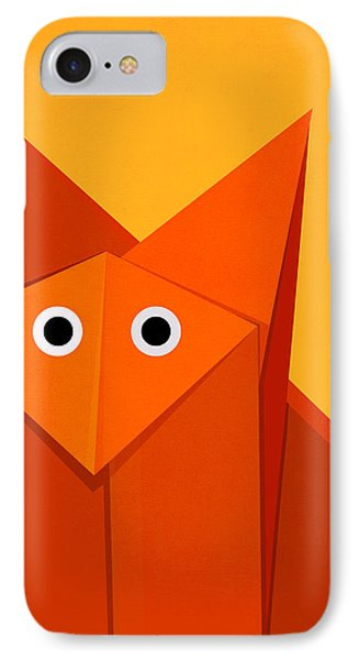 Yellow Cute Origami Fox IPhone Case by Boriana Giormova
