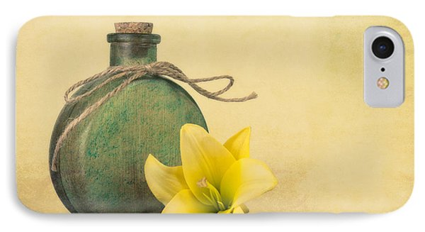 Yellow Lily And Green Bottle II IPhone Case by Tom Mc Nemar