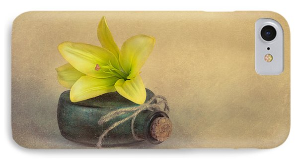 Yellow Lily And Green Bottle IPhone Case by Tom Mc Nemar