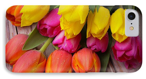 Yellow Pink Orange Tulips IPhone Case by Garry Gay