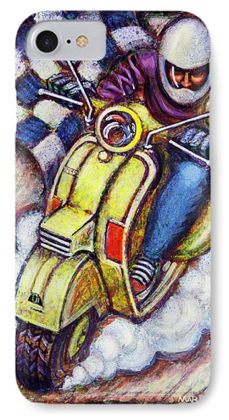 Yellow Vespa IPhone Case by Mark Howard Jones
