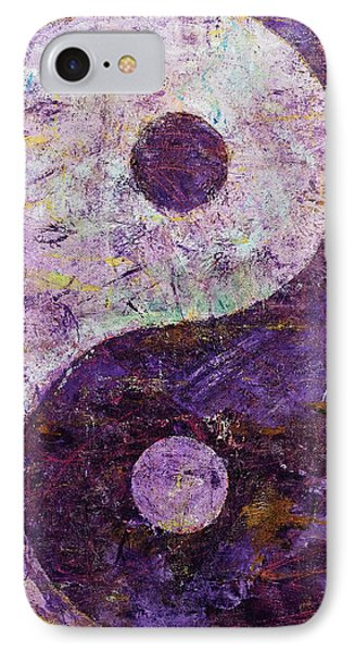 Purple Yin Yang IPhone Case by Michael Creese