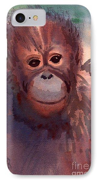 Young Orangutan IPhone Case by Donald Maier