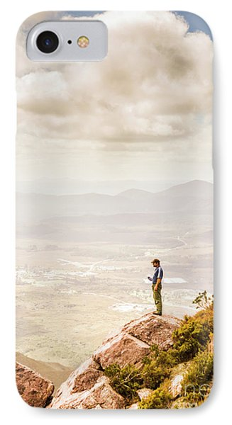 Young Traveler Looking At Mountain Landscape IPhone Case by Jorgo Photography - Wall Art Gallery