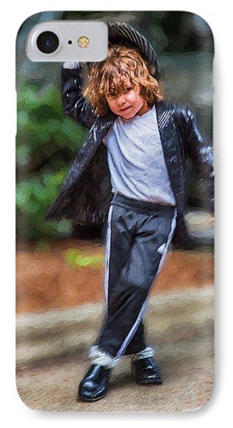 Young White Michael Jackson Busker IPhone Case by John Haldane