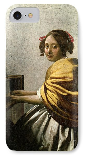 Young Woman At A Virginal Phone Case by Jan Vermeer