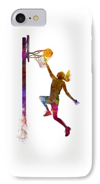 Young Woman Basketball Player 04 In Watercolor IPhone 7 Case by Pablo Romero