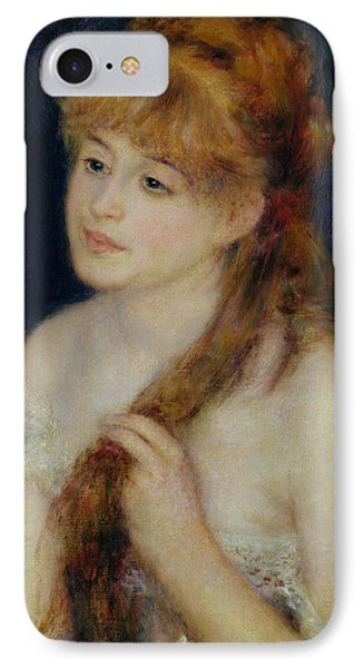 Young Woman Braiding Her Hair Phone Case by Pierre Auguste Renoir