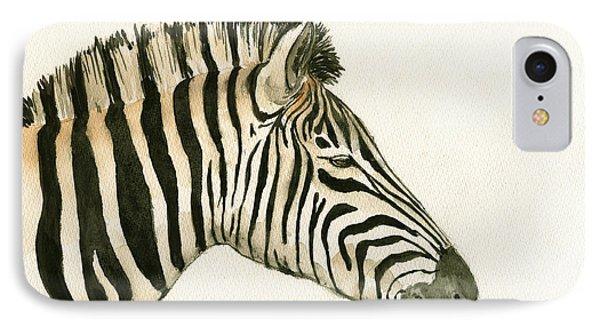 Zebra Head Study Painting IPhone 7 Case by Juan  Bosco