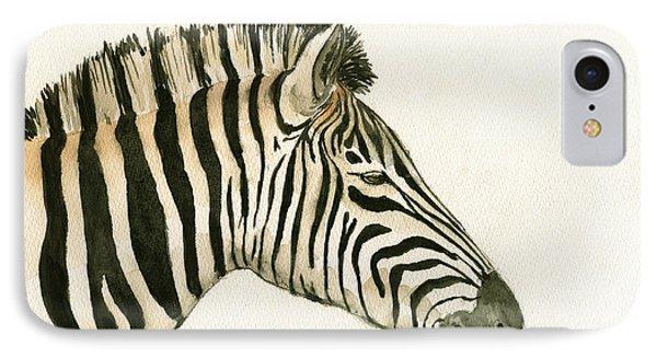 Zebra Head Study Painting IPhone Case by Juan  Bosco