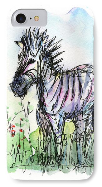 Zebra Painting Watercolor Sketch IPhone 7 Case by Olga Shvartsur