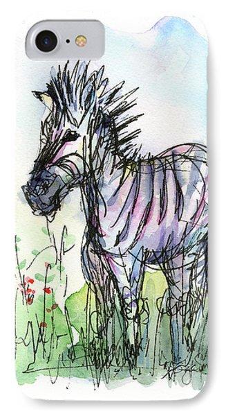 Zebra Painting Watercolor Sketch IPhone Case by Olga Shvartsur