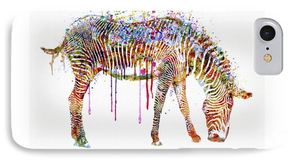 Zebra Watercolor Painting IPhone Case by Marian Voicu
