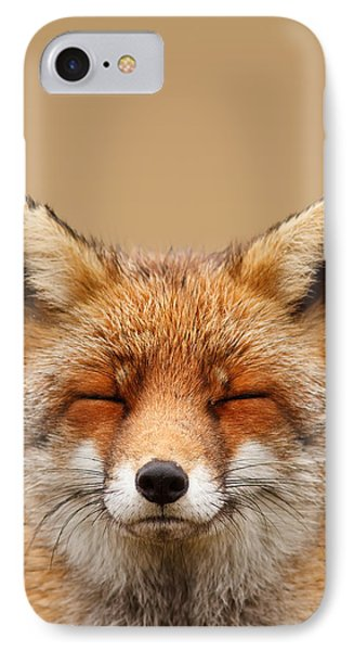 Zen Fox Series - Smiling Fox Portrait IPhone Case by Roeselien Raimond