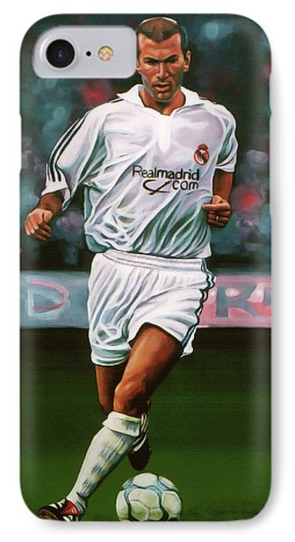 Zidane At Real Madrid Painting IPhone 7 Case by Paul Meijering