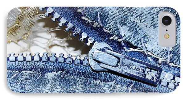 Zipper In Blue Phone Case by Nancy Mueller