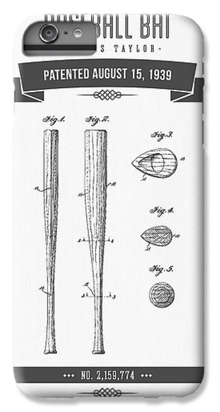 1939 Baseball Bat Patent Drawing IPhone 7 Plus Case by Aged Pixel